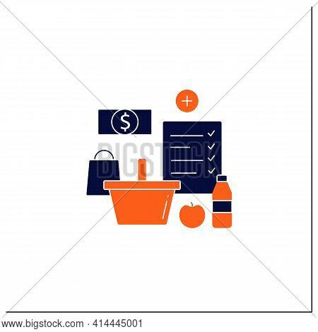 Shopping List Glyph Icon. Make Shopping List. Planning Buying. Only Needed Products. Thoughtful Spen