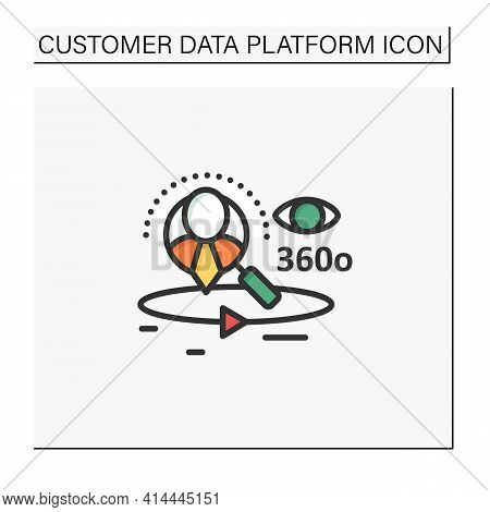 360-degree Customer View Color Icon.all Client Data In One Place. Interactions With Customer Service