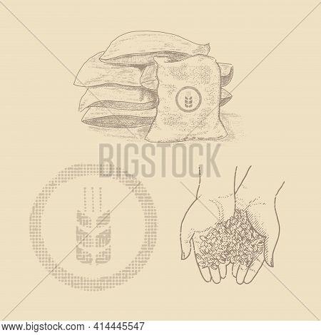 Sacks Of Grain, Wheat In Human Hands. Vintage Retro Set.