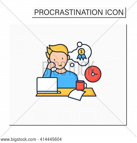 Procrastinator Dreamer Color Icon. Dream About Large, Unattainable Goals. Do Not Execute Scheduled T