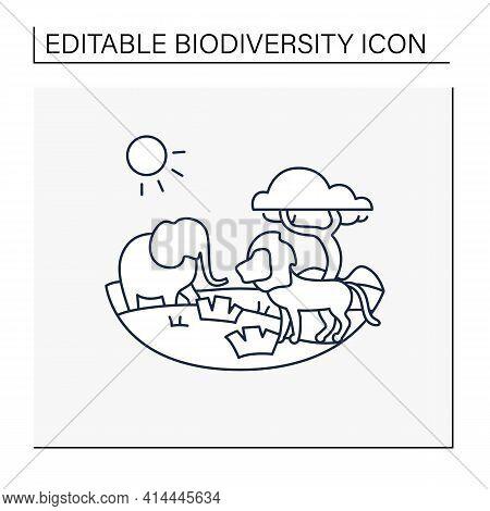 Savanna Line Icon. Living Place For Powerful Predators. Grasslands Biome. Dangerous Place. Lion, Ele