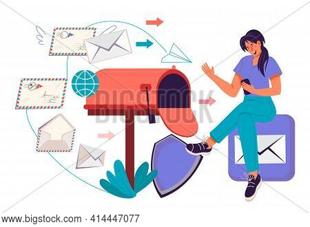 Mailing And Email Marketing Concept With Woman Getting And Sending Messages, Flat Vector Illustratio