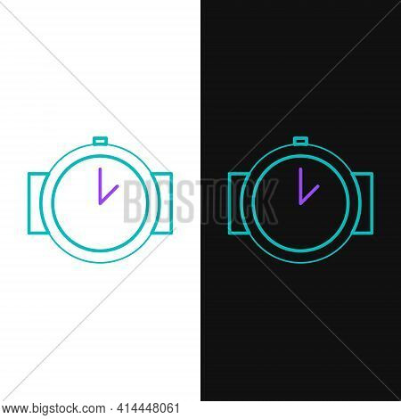 Line Diving Watch Icon Isolated On White And Black Background. Diving Underwater Equipment. Colorful