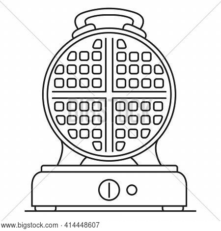 Waffle Maker Icon. Electric Waffle Iron Round. Outline Vector Flat.