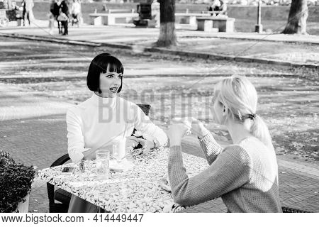 Conversation Of Two Women Cafe Terrace. Friendship Meeting. Sharing Thoughts. Female Friendship. Tru