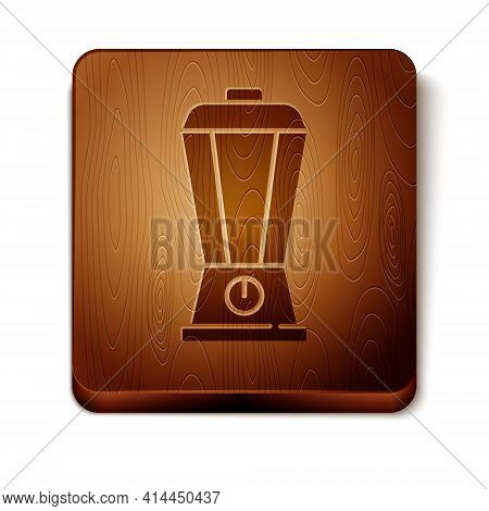 Brown Blender Icon Isolated On White Background. Kitchen Electric Stationary Blender With Bowl. Cook