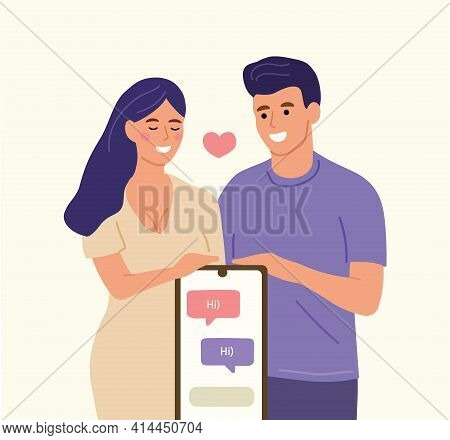 A Young Man And A Girl Are Looking For A Couple In A Mobile Dating Application. A Man Wants To Meet