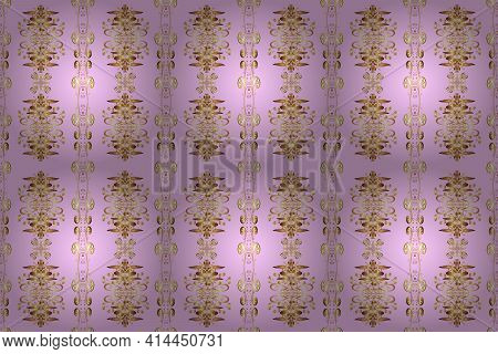 Seamless Vintage Pattern On Beige, Neutral And Brown Colors With Golden Elements. Christmas, Snowfla