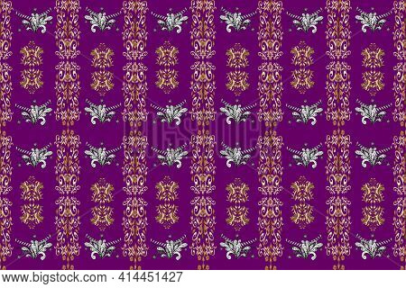 Gold Floral Ornament In Baroque Style. Golden Element On Purple, White And Beige Colors. Antique Gol