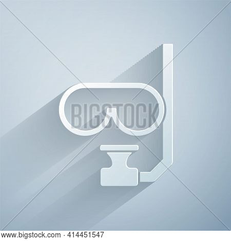 Paper Cut Diving Mask And Snorkel Icon Isolated On Grey Background. Extreme Sport. Diving Underwater
