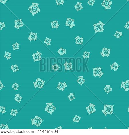 Green Aqualung Icon Isolated Seamless Pattern On Green Background. Diving Helmet. Diving Underwater