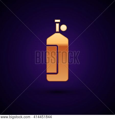 Gold Aqualung Icon Isolated On Black Background. Oxygen Tank For Diver. Diving Equipment. Extreme Sp