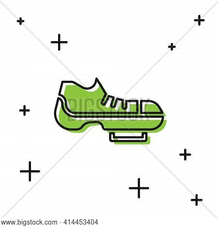 Black Triathlon Cycling Shoes Icon Isolated On White Background. Sport Shoes, Bicycle Shoes. Vector