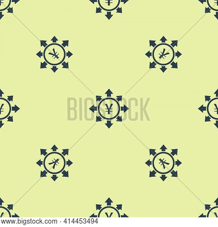 Blue Coin Money With Yen Symbol Icon Isolated Seamless Pattern On Yellow Background. Banking Currenc