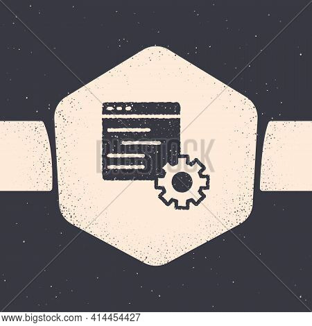 Grunge Computer Api Interface Icon Isolated On Grey Background. Application Programming Interface Ap