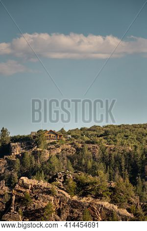 Visitor Center Hides High On Canyon Cliff Along Black Canyon Of The Gunnison