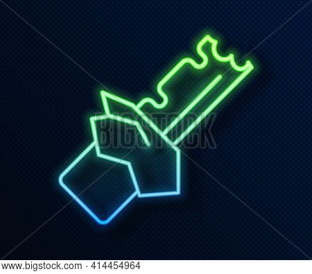 Glowing Neon Line Bitten Chocolate Bar Icon Isolated On Blue Background. Vector