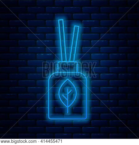 Glowing Neon Line Aroma Diffuser Icon Isolated On Brick Wall Background. Glass Jar Different With Wo