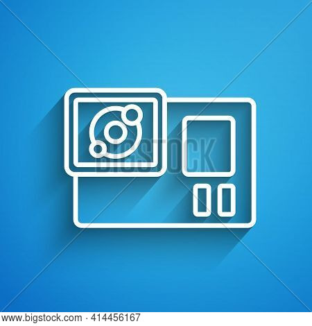 White Line Action Extreme Camera Icon Isolated On Blue Background. Video Camera Equipment For Filmin