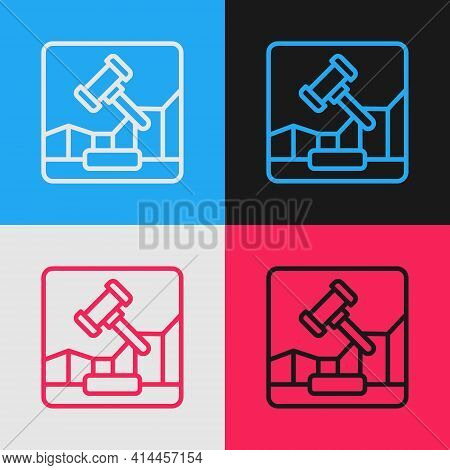 Pop Art Line Online Internet Auction Icon Isolated On Color Background. International Trade Concept.