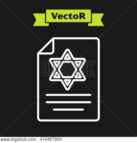 White Line Torah Scroll Icon Isolated On Black Background. Jewish Torah In Expanded Form. Star Of Da