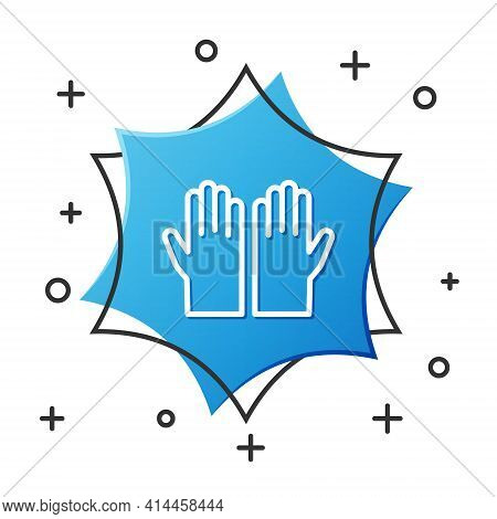 White Line Medical Rubber Gloves Icon Isolated On White Background. Protective Rubber Gloves. Blue H