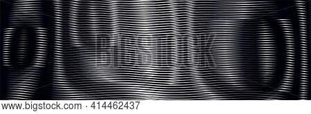 Monochrome Psychedelic Abstract Dark Background With Moire Effect Of Lines. Can Be Used As Design Of