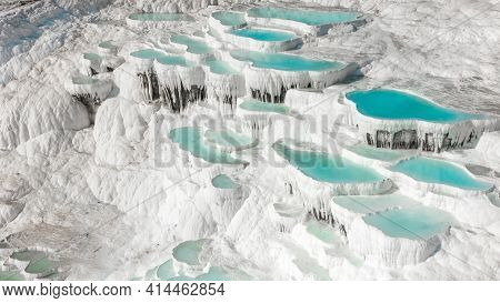 Aerial Of The Famous Pamukkale Travertines In Central Western Turkey. Famous For Their Turquoise The