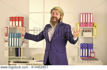 Entrepreneur In Modern Office. Successful Bearded Ceo. Welcome To My Office. Business Success. Makin