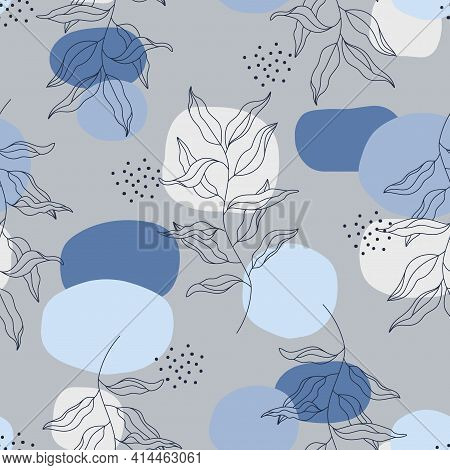 Abstract Vector Floral Seamless Pattern. Blue Grey Geometric Spots, Navy Blue Plant Branch, Wavy Lea
