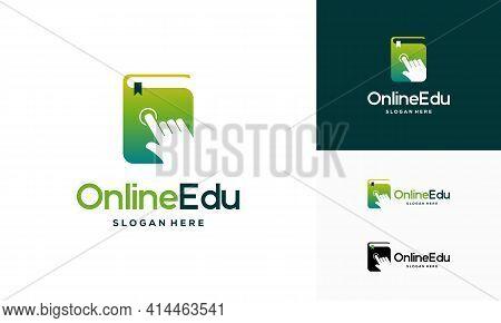 Online Education Logo Designs Concept, Online Book Logo Designs Concept
