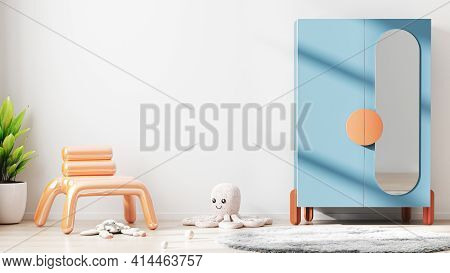 Children Room Interior Mock Up With White Empty Wall, Colorful Cupboard, Soft Toys, Scandinavian Sty
