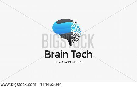 Brain Tech Logo Designs, Mind Technology Logo, Robotic Brain Logo Template