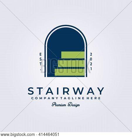 Stairway , Door Access , Entrance Logo Vector Illustration Design