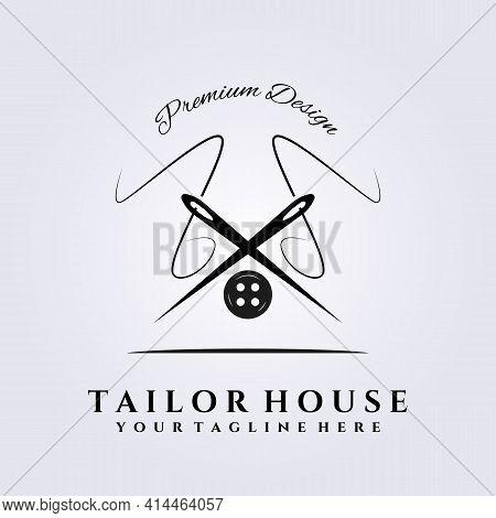 Tailor Shop Logo, Tailor House Workshop, Needle Vector Illustration Design