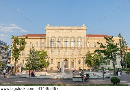 Szeged, Hungary - July 20, 2017: Main Facade Of Szeged University, On The Dugonics Ter Square, With
