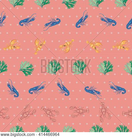 Coral Lobsters Sealife Seamless Vector Repeat Pattern . Vector Illustration