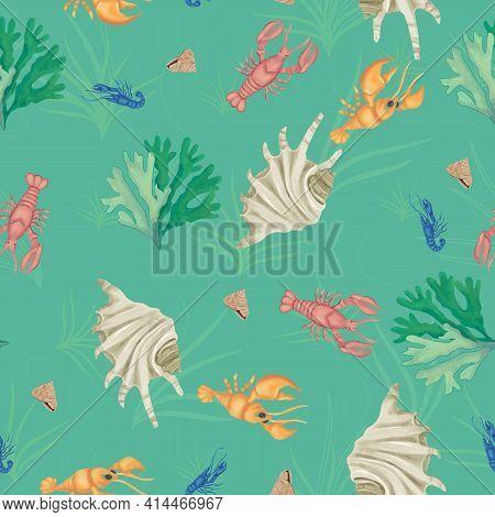 Green Lobsters Sealife Seamless Vector Repeat Pattern . Vector Illustration