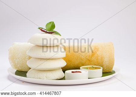 Ghee Roast  Dosa And Idlii, South Indian Main Breakfast Item Which Is Beautifully Arranged In A Whit