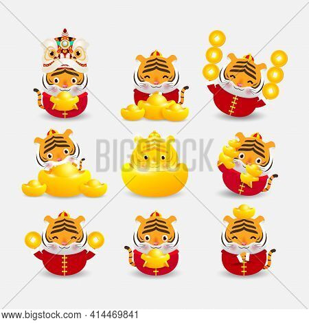 Happy Chinese New Year Greeting Card 2022 Year Of Tiger Zodiac, Set Of Cute Tiger And Wealth Chinese