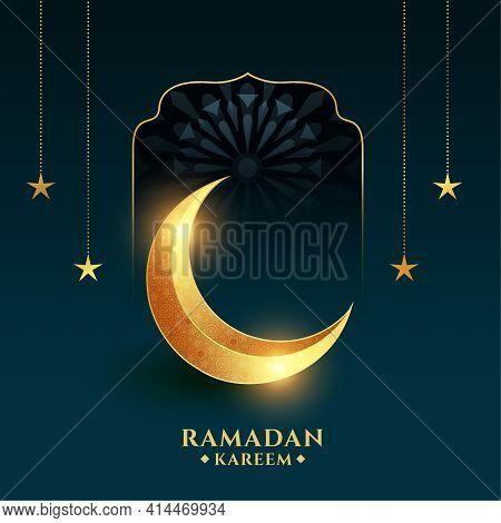 Ramadan Kareem Background With Golden Crescent Moon