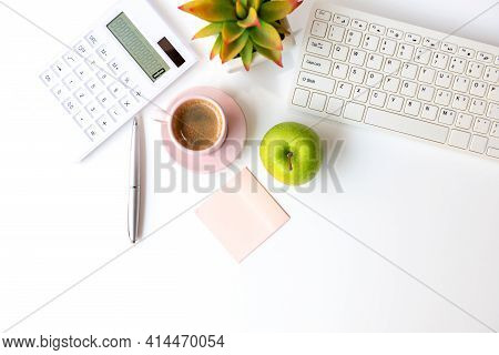 Healthy Snack With Working In The Office.  Green Apple Pink Cup Black Coffee For Diet Health Life Wi