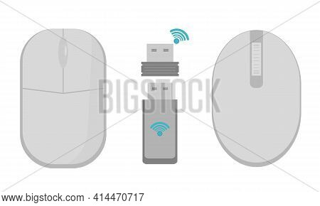 A Set Of Gray Wireless Mice With A Radio Communication Module. A Gray Computer Mouse. Flat Vector Il