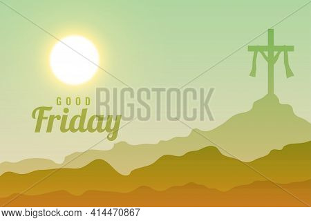 Good Friday Heavenly Scene Background Design Vector Template Design