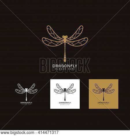 Set Of Beautiful Luxury Logo Dragonfly,stylized Image Of Dragonfly Gold Logo Template,dragonfly Tatt