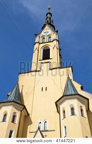 Historic church steeple in the town of Bad Toelz, Bavaria