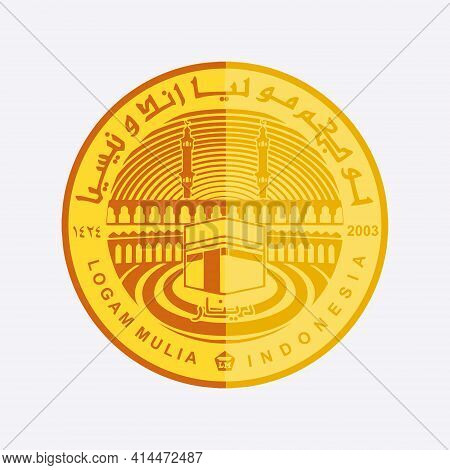 Vector Of Indonesian Dinar Gold Coin, Islamic Currency