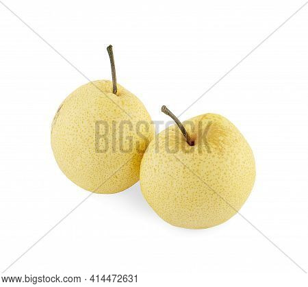Chinese Pear (pyrus Pyrifloral,nashi Pear) Tropical Fruit Isolated On White Background