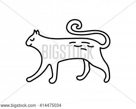 Cat. Chinese Horoscope 2023 Year. Animal Symbol Vector Illustration. Black Line Doodle Sketch. Edita