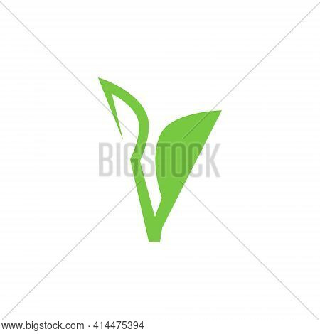 Abstract Seedling Symbol, Icon On White Background. Design Element